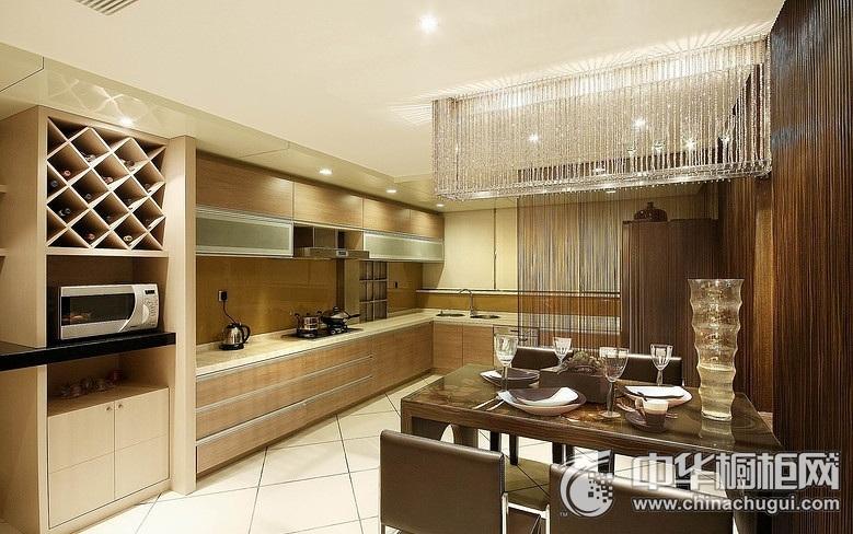 原木色橱柜效果图 L型厨房装修效果图