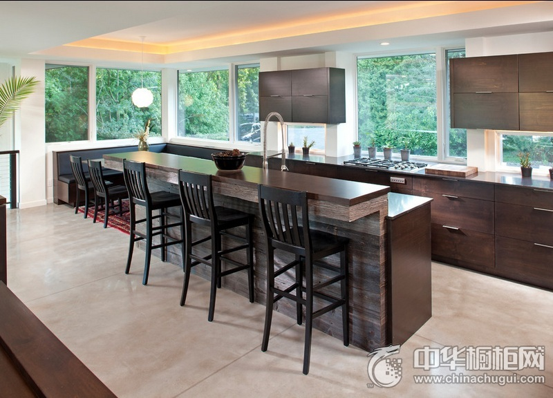 开放式厨房效果图 岛型整体橱柜图片