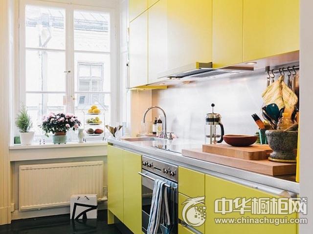 厨房橱柜图片 黄色系橱柜图片