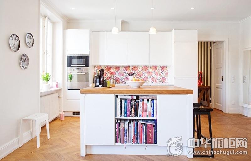 开放式厨房装修效果图 白色岛型橱柜图片