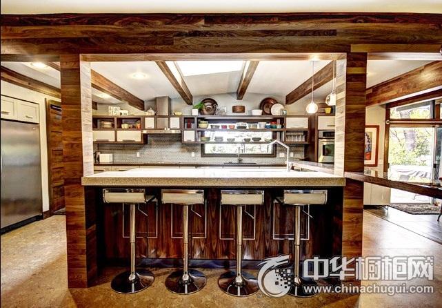 开放式厨房效果图 岛型橱柜图片