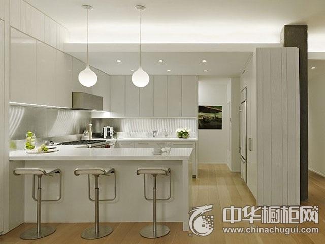现代简约风格厨房设计图 白色橱柜装修效果图
