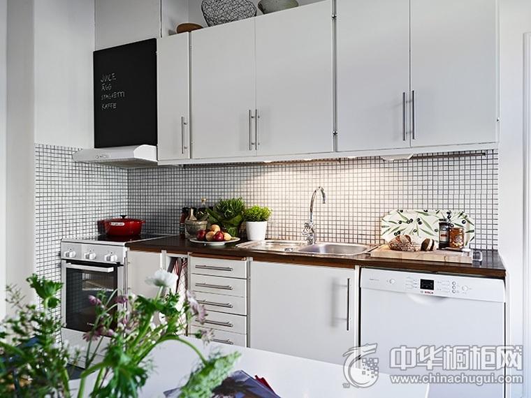 简欧厨房装修效果图 一字型橱柜效果图