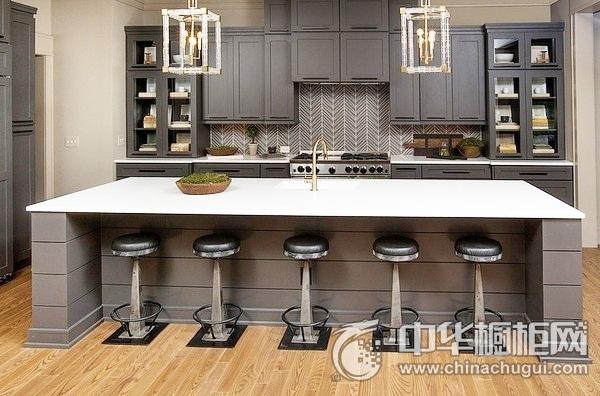 整体厨房效果图 岛型橱柜图片