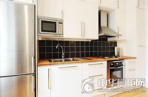 小户型厨房设计效果图 白色实木橱柜效果图