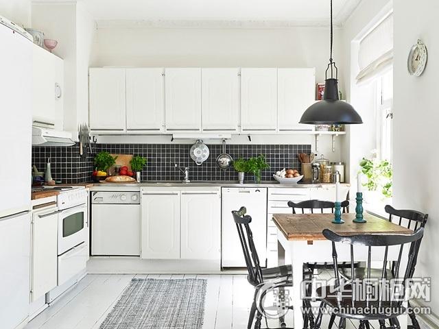开放式厨房效果图 白色橱柜效果图