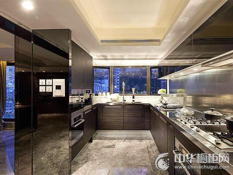 厨房装潢效果图 U型橱柜图片