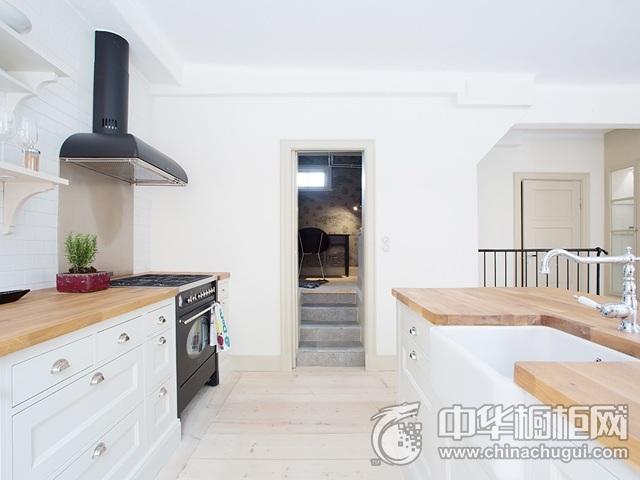 北欧风格厨房装修图片 岛型橱柜图片