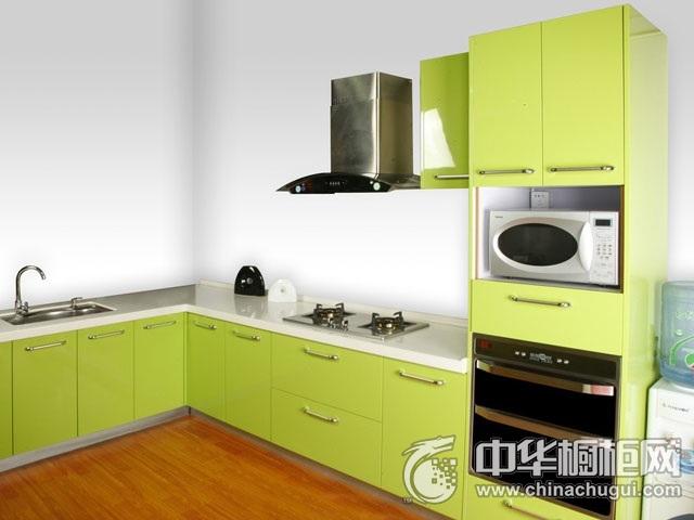 绿色系整体橱柜图片 L型橱柜图片