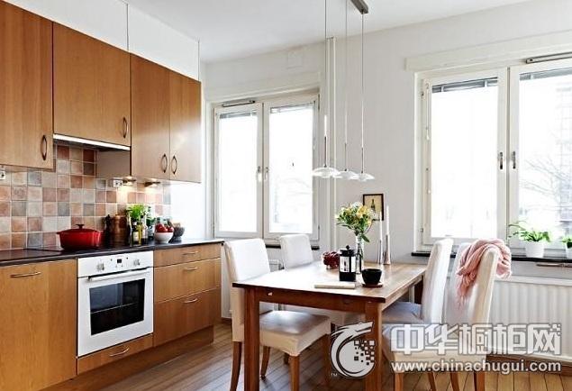 美式田园风格橱柜效果图 集成灶厨房装修