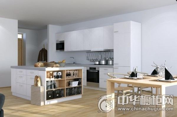 简约开放式厨房装修效果图 集成灶整体厨房效果图