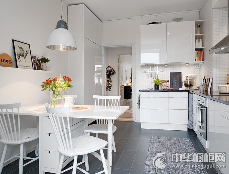 白色橱柜效果图 L型厨房装修效果图