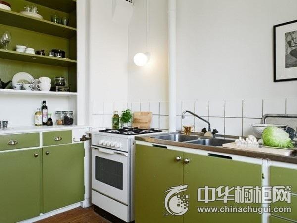 一字型厨房装修效果图 绿色橱柜图片