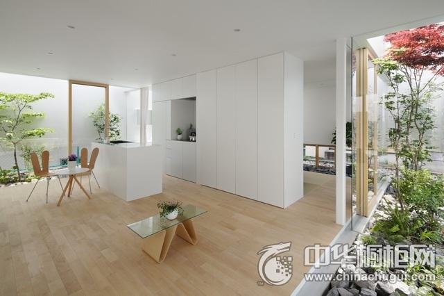简约风格厨房效果图 白色岛型橱柜图片