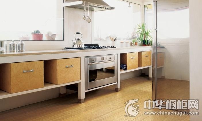 原木色橱柜装修效果图 集成环保灶厨房效果图