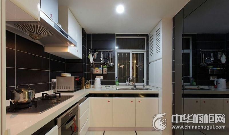 黑白色橱柜效果图 厨房集成灶图片大全