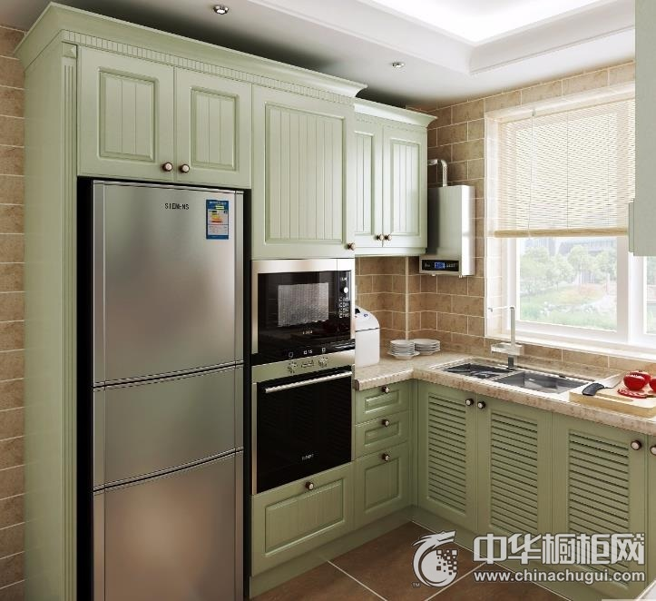 田园风格橱柜图片  绿色厨房装修效果图