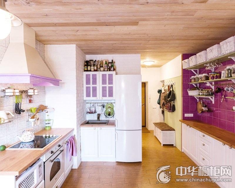 紫色浪漫整体橱柜效果图  田园风格橱柜图片