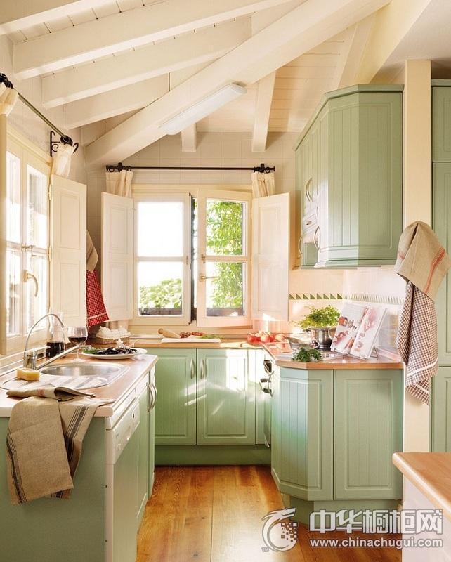 简约田园风格厨房图片 整体橱柜效果图