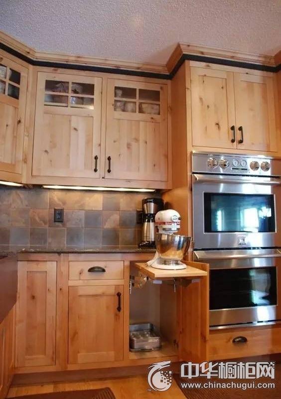美式乡村风格橱柜图片 黄色整体橱柜效果图