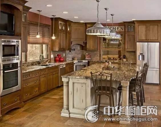 美式乡村风格橱柜图片  L型开放式厨房效果图