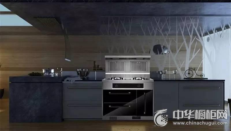 现代节约整体厨房装修效果图  灰色整体橱柜图片