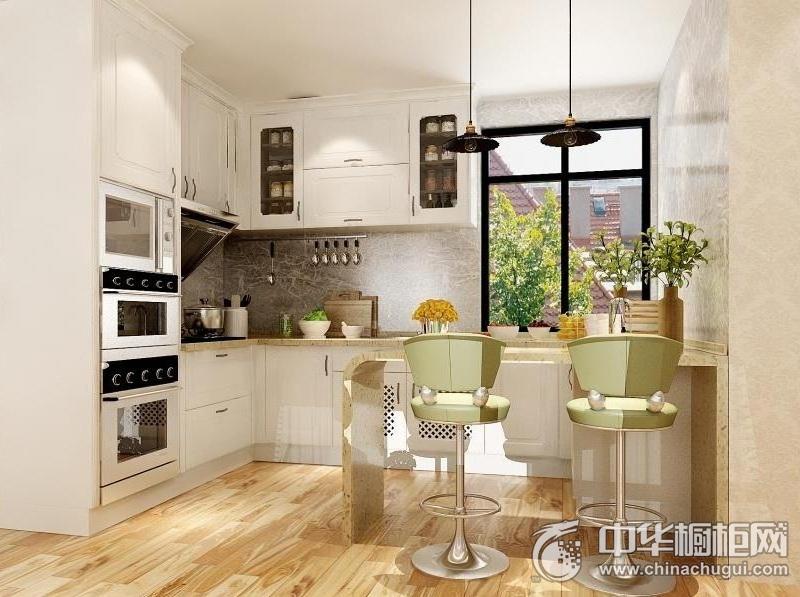 简欧风格整体橱柜图片  白色厨房装修效果图