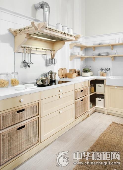 田园风格厨房设计  L型整体橱柜图片