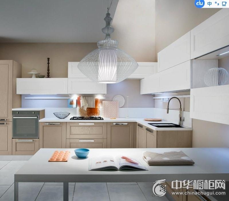 L型厨房设计  田园风格整体橱柜效果图