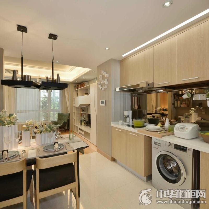 一字型橱柜设计  开放式厨房装修效果图
