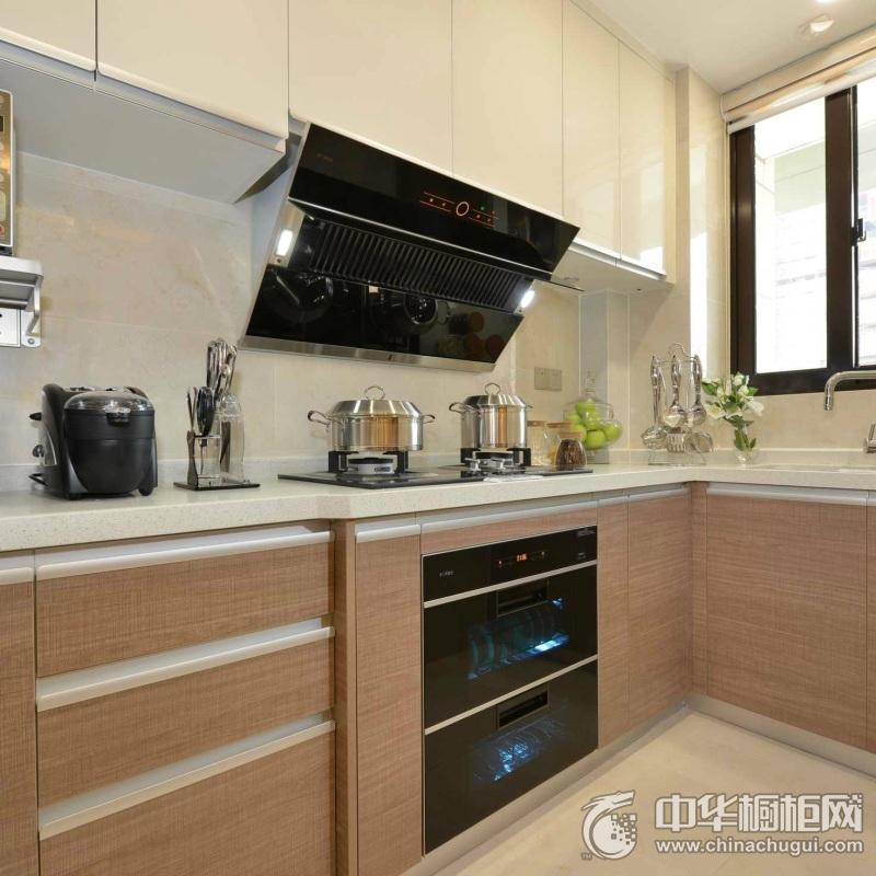 现代简约风格厨房设计  一字型整体橱柜图片