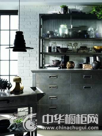 工业风格橱柜设计  开放式厨房效果图