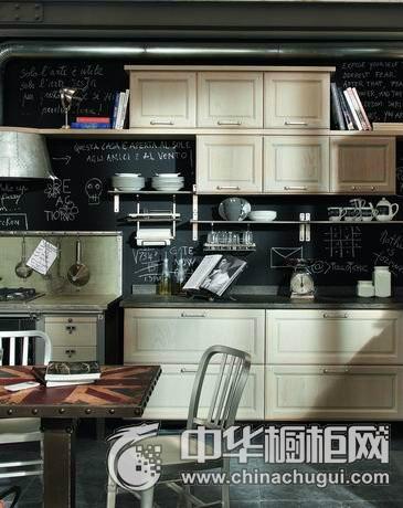 工业风开放式厨房设计  整体橱柜图片