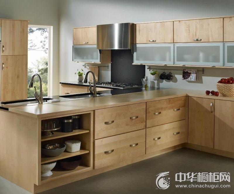 开放式厨房整体橱柜图片   原木色整体橱柜装修效果图
