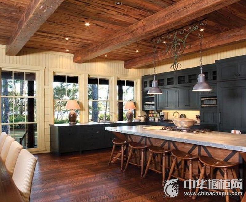 田园风格整体橱柜效果图    开放式厨房装修图片