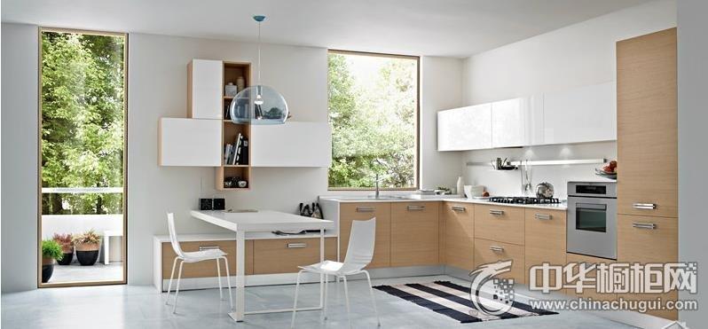 现代简约风格整体橱柜设计   L型橱柜装修效果图