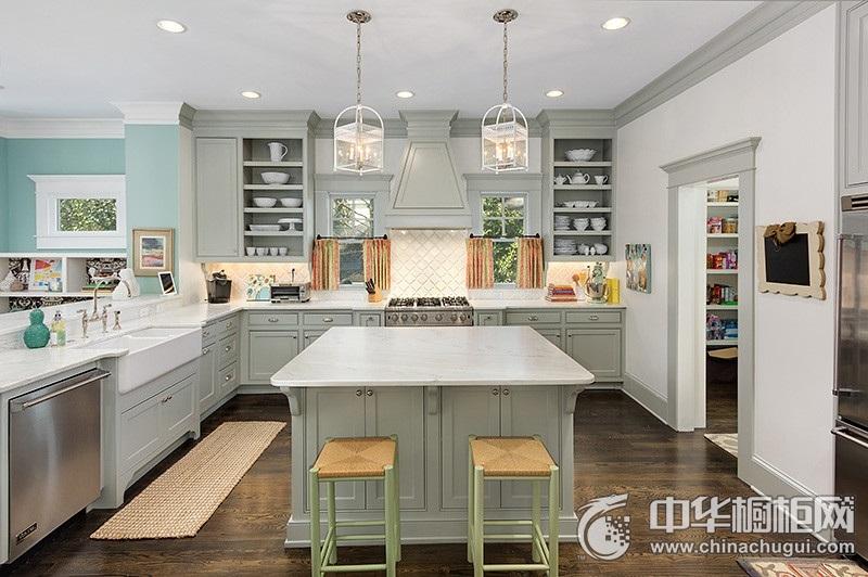 美式风格厨房装修效果图  岛型整体橱柜装修效果图