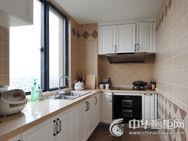 简欧风格厨房装修效果图   L型整体橱柜图片