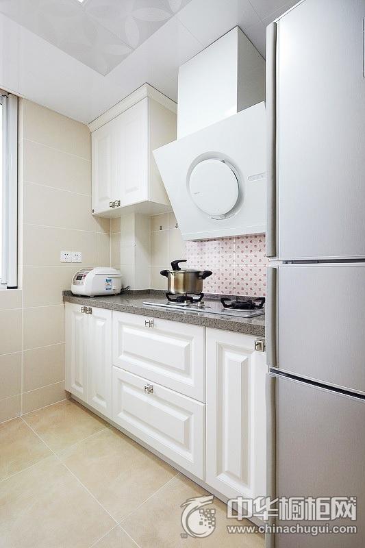 98平米欧式风格厨房装修效果图   一字型整体橱柜图片