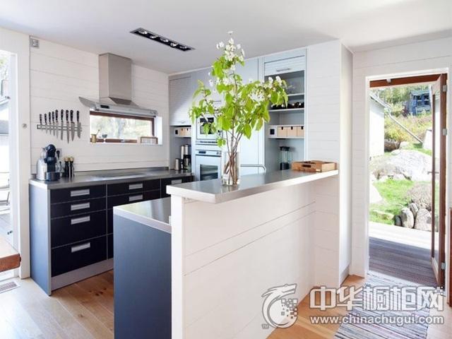 清新厨房装修效果图  U型整体橱柜图片