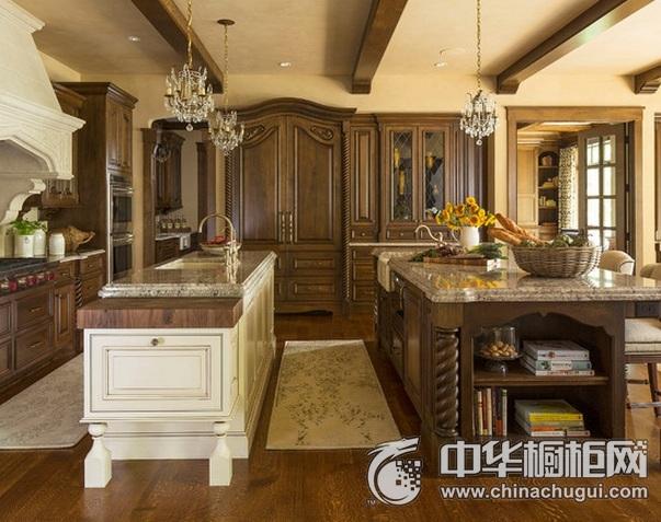 古典风格整体橱柜图片   开放式厨房装修效果图