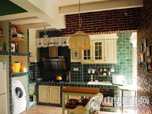 混搭风格橱柜图片  一字型厨房装修效果图