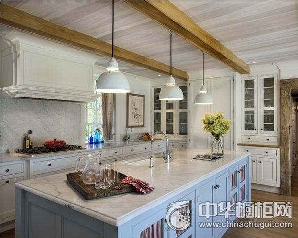 大户型别墅开放式厨房装修效果图   简欧风格整体橱柜图片