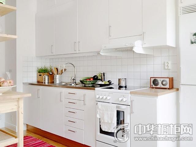 一字型整体橱柜图片  白色开放式厨房装修效果图