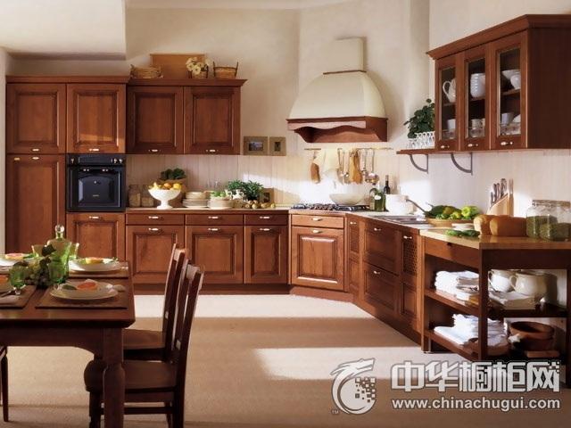 欧式风格厨房装修效果图  L型整体橱柜图片