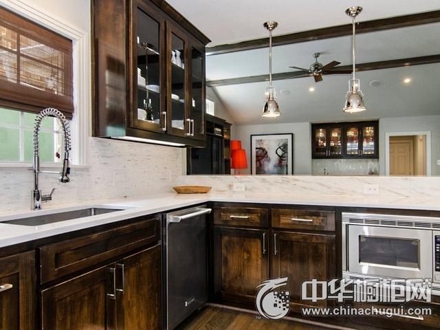 复古风格整体橱柜图片  开放式厨房装修效果图