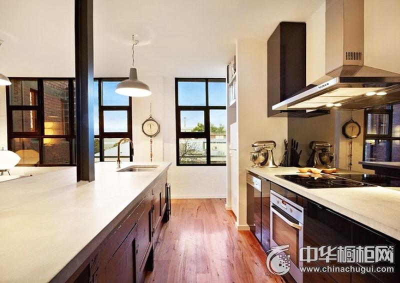 一字型整体橱柜图片  开放式厨房装修效果图