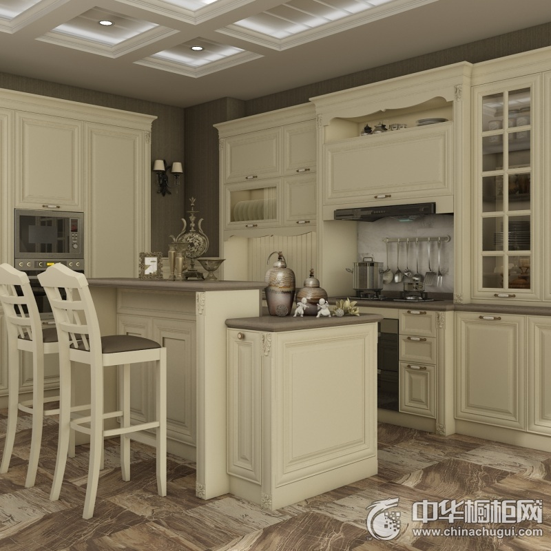 我乐厨柜-拉德芳斯系列橱柜效果图 岛型整体橱柜图片