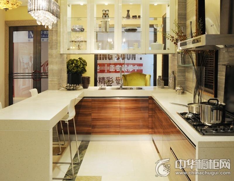 美高印象橱柜 印象米兰系列整体橱柜图片 开放式厨房吧台装修效果图
