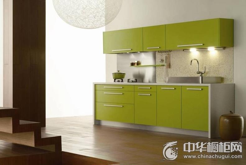 现代风格整体橱柜图片  清新果绿色橱柜装修效果图